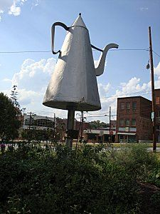 Big Coffee Pot, Old Salem, North Carolina - erected in 1869, this metal coffee pot is over 12 feet tall.