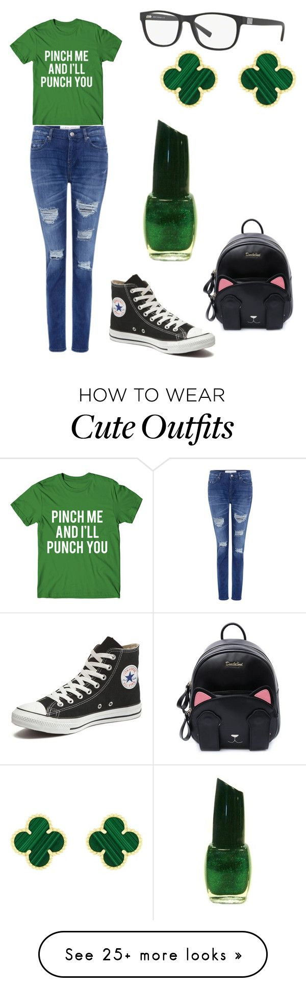 """""""St. Patrick's Day Outfit."""" by potterhead-pride on Polyvore featuring IRO, Converse, Armani Exchange and Van Cleef & Arpels"""