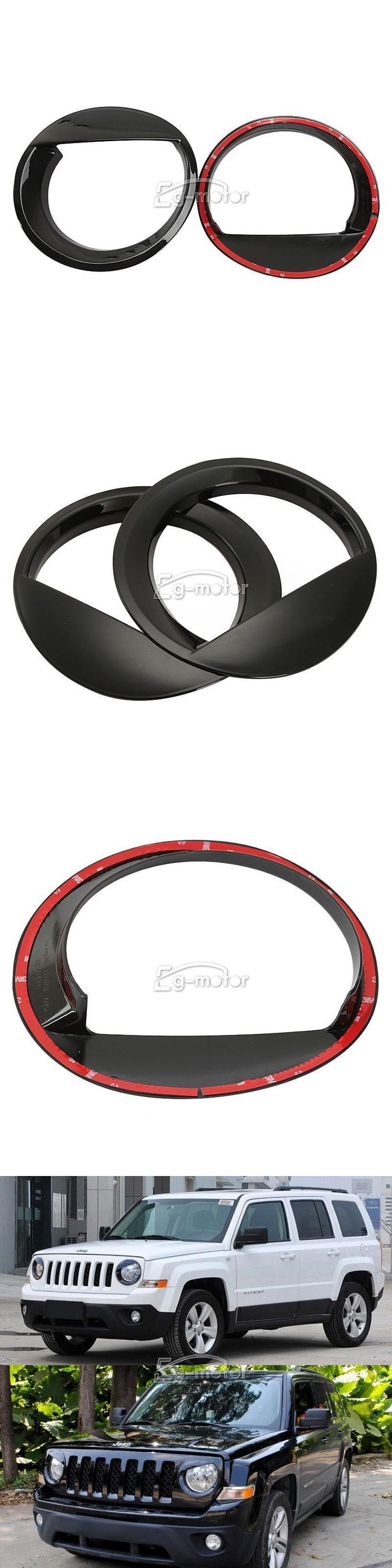 2PCS Eyelid Black Headlight Trim Cover(Left & Right)for 2011-2014 Jeep Patriot