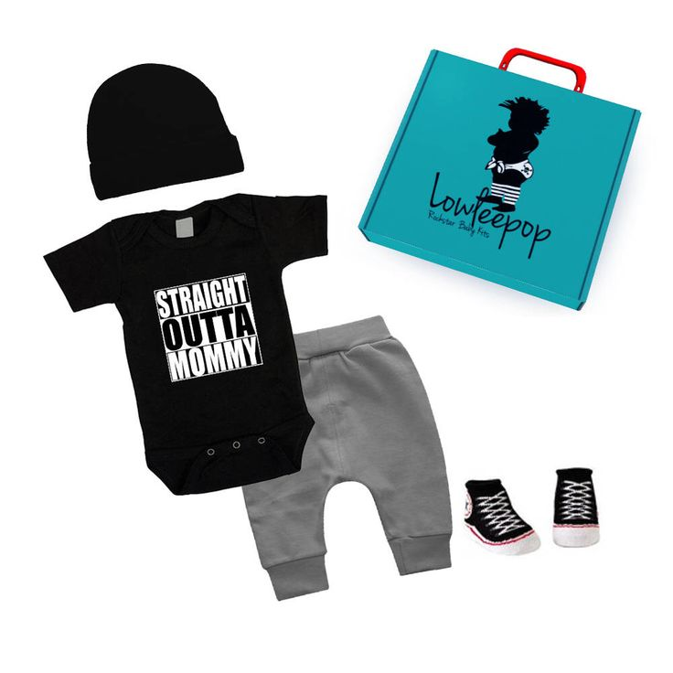Excited to share the latest addition to my #etsy shop: ROCKSTAR BABY KIT Straight Outta Mommy black onesie, grey pants, hat, booties & gift box
