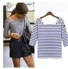 wk5758 2014 primavera verão mulheres slim camisa algodão clássico blusa listras horizontais(China (Mainland))