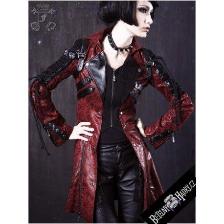 Kabát je koženého vzhledu dozdobený síťovinou, přeskami a poutky. Na rukávech je ozdobné šněrování. Zapínání na zip.