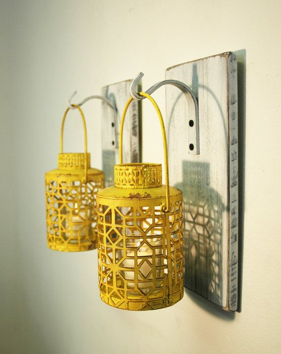 Shabby Chic Yellow Lantern Pair on by PineknobsAndCrickets on Etsy