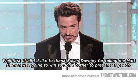 Robert Downey Jr.'s acceptance speech…