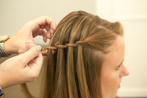 Repeat the process until your waterfall braid is the length you want it. For this look, we just braided one side until it reached the back of the head. Source: Caroline Voagen Nelson