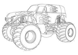 Mewarnai Truk monster full | Monster trucks, Truk pickup, Truk