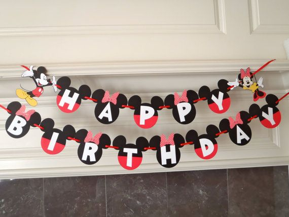 Boy Girl Twins Birthday Mickey and Minnie Party BANNER with Custom Names option by FeistyFarmersWife