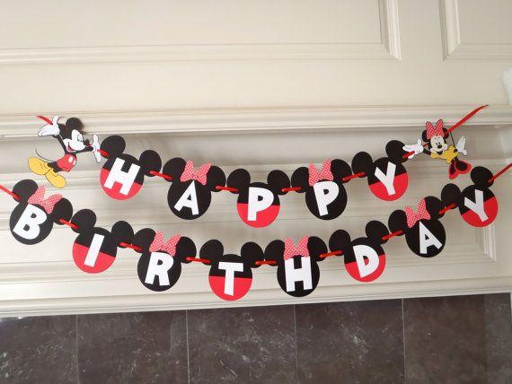 Boy Girl Twins Birthday Mickey and Minnie Party BANNER with Custom Names option by FeistyFarmersWife