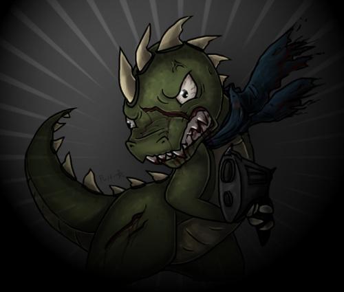 Dino with a gun.