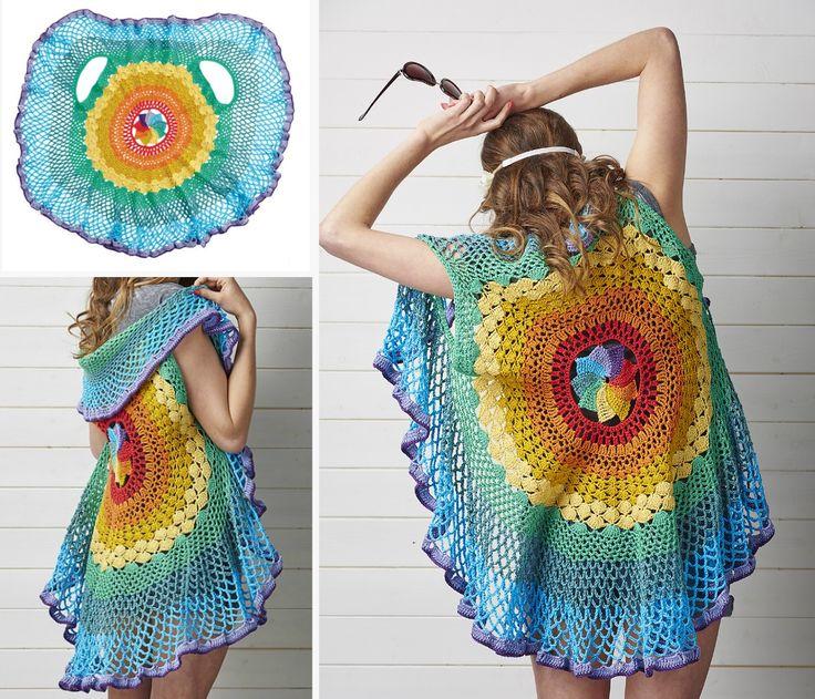 Free Crochet Pattern For Mandala Vest : 1000+ ideas about Crochet Circle Vest on Pinterest ...
