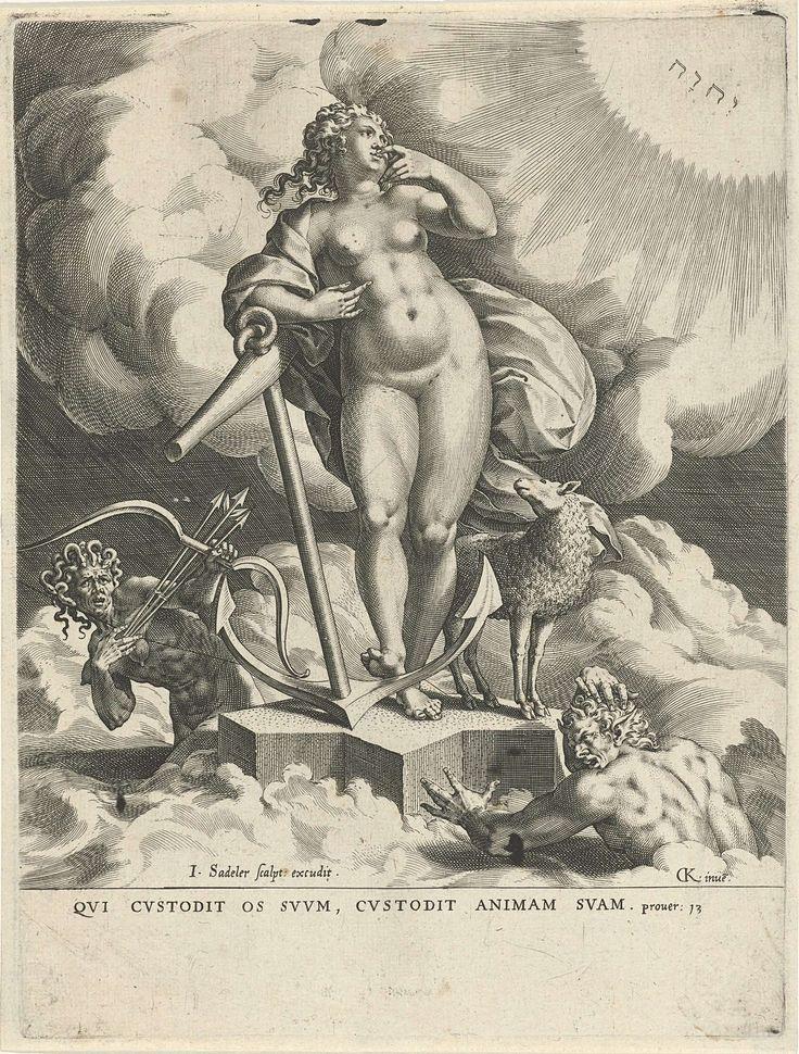 Johann Sadeler (I) | Allegorie van de Hoop, Johann Sadeler (I), 1560 - 1600 | Personificatie van de Hoop: een standbeeld van vrouw met een anker op een sokkel in de wolken. Naast haar een lam. Hoop kijkt naar de hemel (rechts) waar het tetragram in de lucht is verschenen, omgeven door lichtstralen. Afgunst (Invidia) schiet met een boog pijlen op haar af.