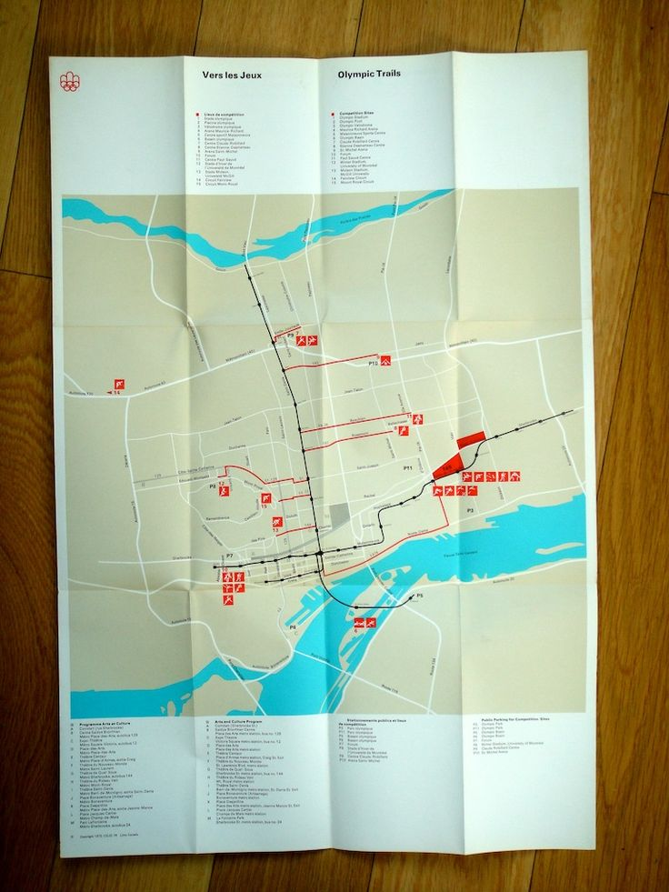 1976 Montréal Olympics Trails Map. Designed by Georges Huel and Pierre-Yves Pelletier