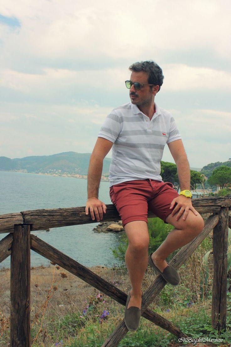 Gentlemen daily wear. ll blog del Marchese: polo a righe Harmont&Blaine; pantaloncini 2w2m. Cosa indossa un gentleman; gentlemen style; gentleman's diary