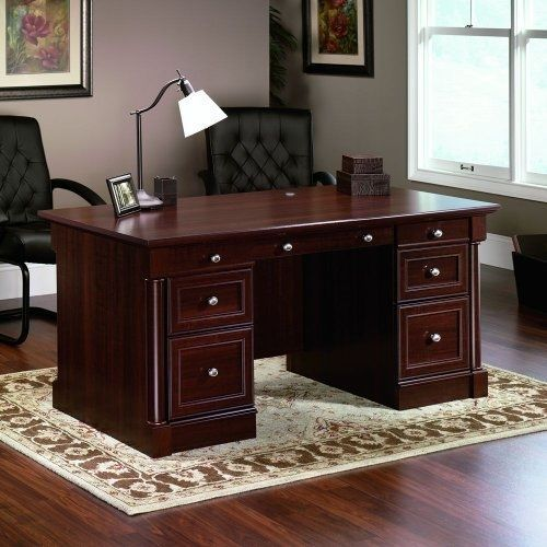 Cherry Wood Sauder Palladia Executive Desk Home Office Furniture New #Sauder