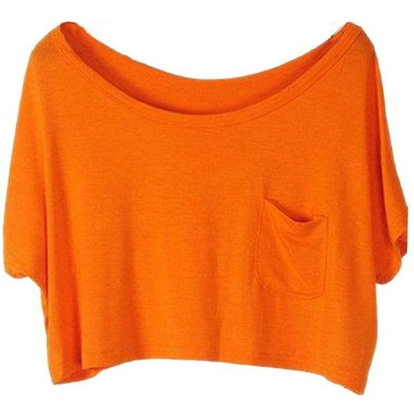 PanDaDa Womens Crop Tops Blouse Modal Loose Solid Color Batwing Sleeve... ($4.61) ❤ liked on Polyvore featuring tops, shirts, crop tops, loose fit shirt, orange top, orange crop top, cut loose shirt and crop top