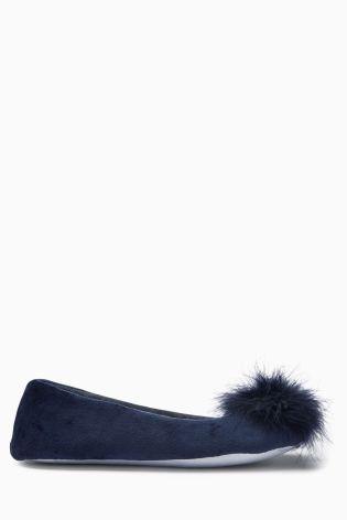 Buy Navy Pom Ballerina Slippers from the Next UK online shop