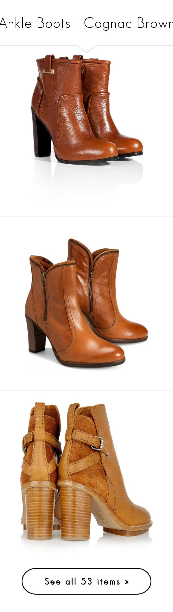 """""""Ankle Boots - Cognac Brown"""" by stylesbymimi ❤ liked on Polyvore featuring shoes, boots, ankle booties, high heel boots, brown leather booties, short leather boots, high heel bootie, short brown boots, brown bootie and brown booties"""