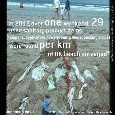 TAMPONS ARE NOT FLUSHABLE - they damage sewage systems and end-up in oceans where they effect wildlife or on beaches for us all to have to deal with - it's gross! Image shows figures out today from the 2012 Marine Conservation Society Beachwatch.