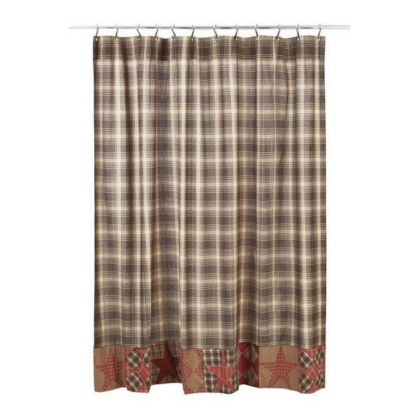 Dawson Star Patchwork Shower Curtain Shower Curtain Primitive