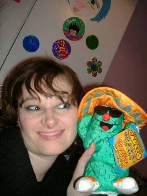 Me with Carlos my Dancing Catus I got him from a local  car boot sale