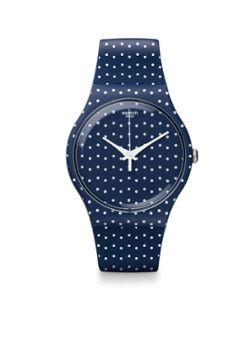 53f298f29614 RELOJ SWATCH NEW GENT FOR THE LOVE OF K Este reloj Swatch New Gent es  perfecto para lucir en cualquier ocasión. Los lunares blancos con el fondo  azul oscuro ...