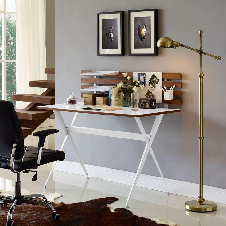 Modway Knack Cherry Wood And White Melamine Desk (Knack Wood Desk In Cherry ),