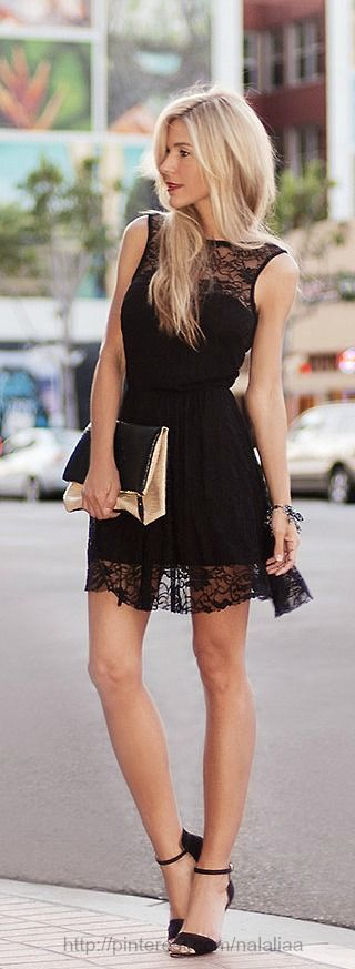 Stylish black lace dress