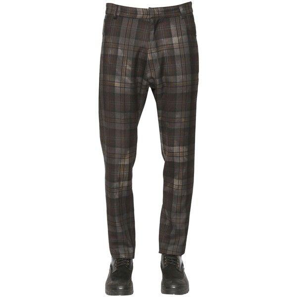 Antonio Marras Men Plaid Printed Wool Gabardine Pants ($630) ❤ liked on Polyvore featuring men's fashion, men's clothing, men's pants, men's casual pants, grey, mens pants, mens tartan plaid pants, mens gray pants, mens plaid pants and mens wool pants