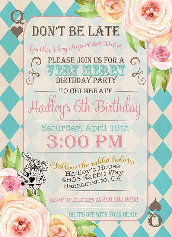 alice in wonderland birthday party invitation alice in onederland birthday tea party invitation vintage floral mad hatter invite - Girl Birthday Party Invitations