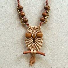 Small owl macrame necklace, free step-by-step tutorial by Ecocraftia . . ღTrish W ~ https://www.pinterest.com/trishw/ . . . . #handmade #jewelry #pendant