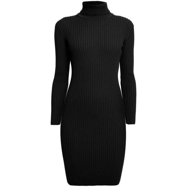 Rumour London - Claudia Black Ribbed Turtle Neck Dress ($245) ❤ liked on Polyvore featuring dresses, stretchy dresses, rib dress, ribbed dress, polo neck dress and turtleneck top