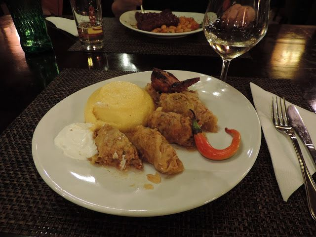 A local dish from Romania. Cabbage rolls and Polenta