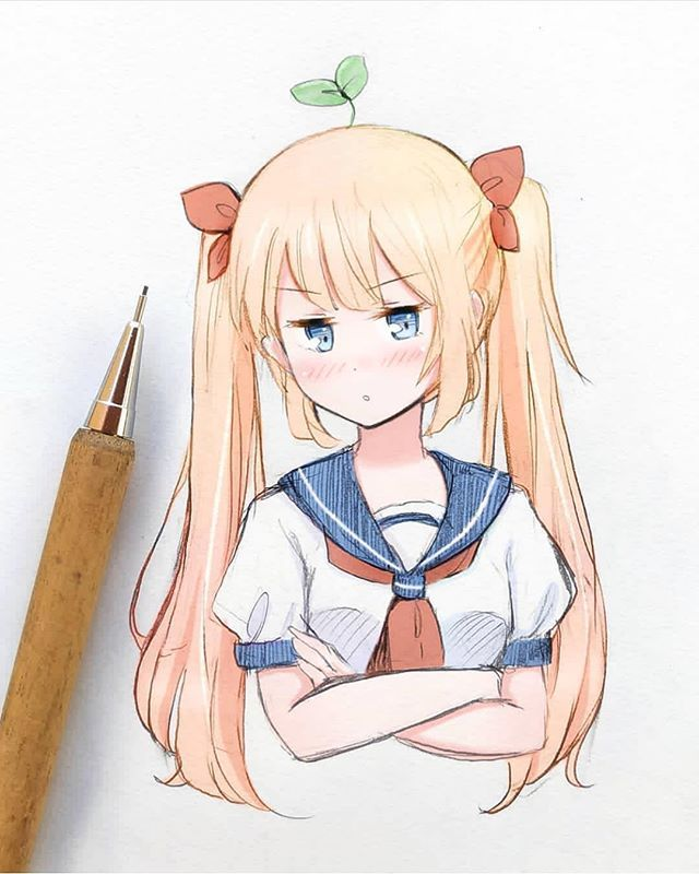 Little Sprout By Meiririh Drawing Illustration Sketch Japan Japanese Tsundere Gadis Anime Kawaii Gambar Manga