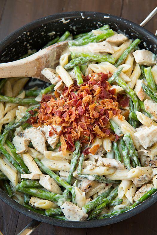 Creamy Chicken and Asparagus Pasta - CookingClassy.com #dinner_ideas #bacon_recipes