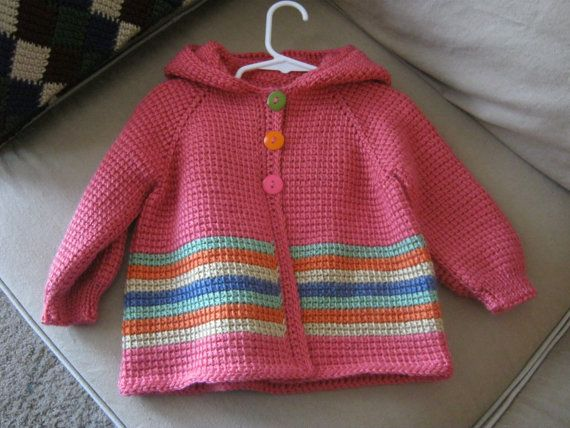 Crochet Baby Girl Sweater with Hood  Light Red by ForBabyCreations,