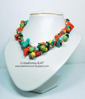 Collier multi-rang,  corail, semi-précieuses, orange/vert/jaune/turquoise, Créations KAT, www.katietheriault.blogspot.com