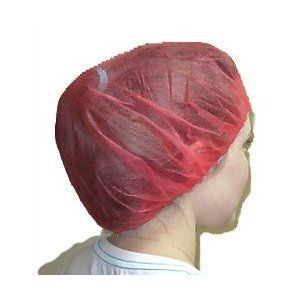 """Red Bouffant Caps, 24"""", Bagged, 500/case. More hair means a bigger bouffant. RedBouffant Caps. Elastic headband is Latex-free, so no allergy worries. Cool and Comfortable Bouffants. Choose21in or 24in opening size. Comfortable enough for all day wear! The bouffant size needed is determined by the volume of hair. Bouffants are FDA approved as a hair restraint. 100% non-woven material (polypropylene) is breathable so your head stays cool and protected. Lightweight polypropylene is..."""