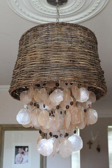 Beach House Capiz Shell Chandelier  wicker lamp by BoutiqueBoost