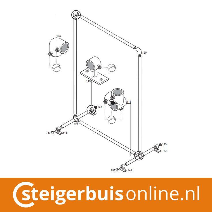 Werktekening (DIY) - Kledingrek van steigerbuis