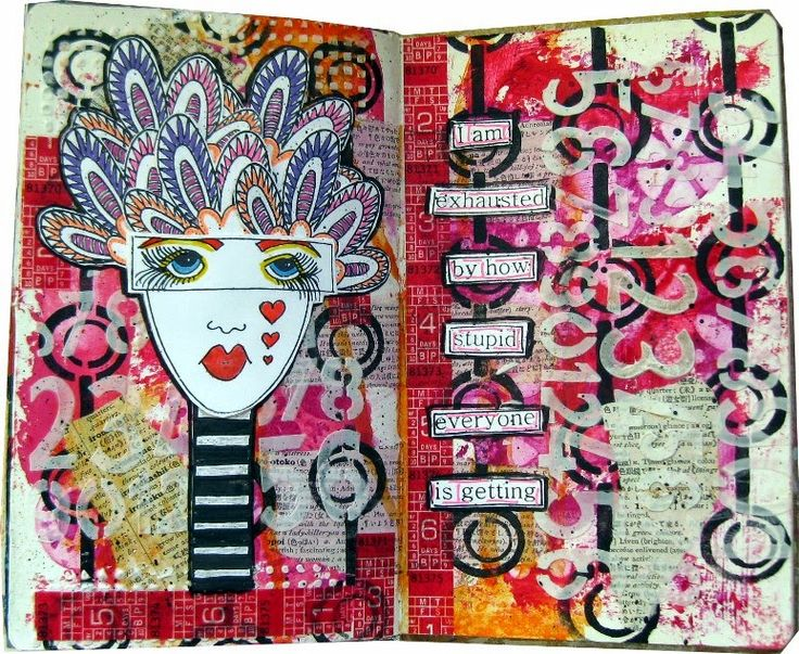 Lisa's Collage Stuff Blog: Exhausted Art Journal Spread