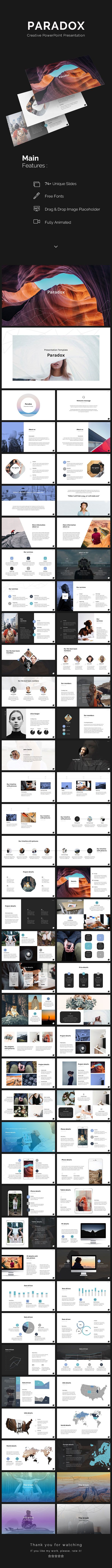 This is Creative PowerPoint Template for your multipurpose business. Paradox comes with infographic elements, charts graphs, maps and icons.