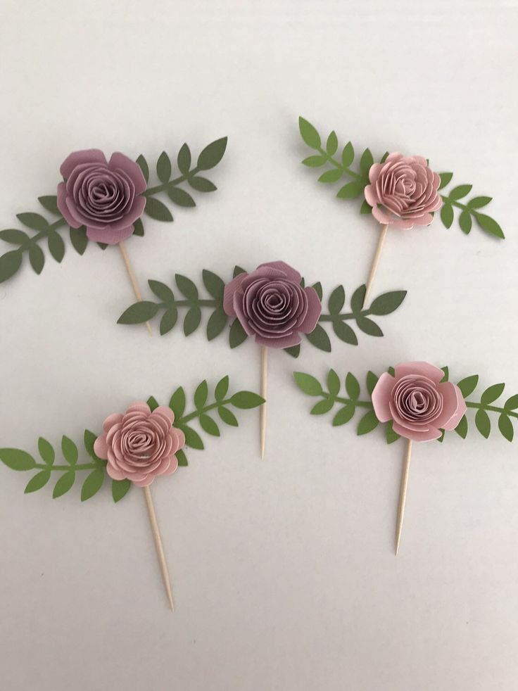 Shabby chic paper flower cupcake toppers , tea party decor
