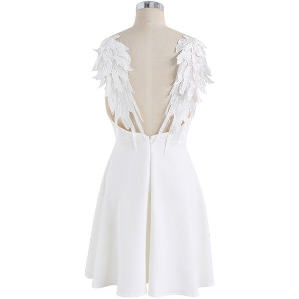 Chicwish Angel's Wings Cami Dress in White ($49) ❤ liked on Polyvore featuring dresses, white flare dress, low-back dresses, white cami, white day dress and white camisole