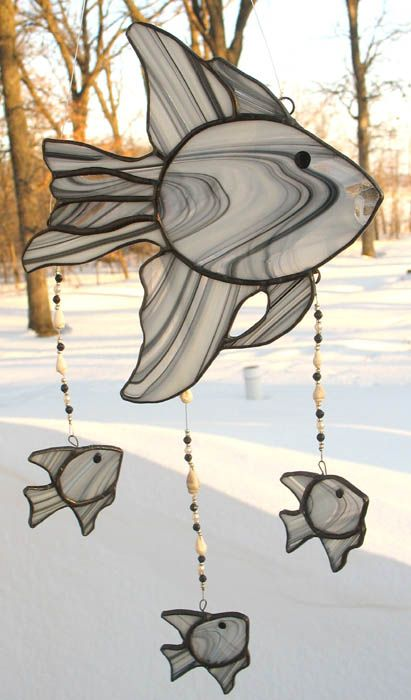 Grey and Black Fish Stained Glass Windchime
