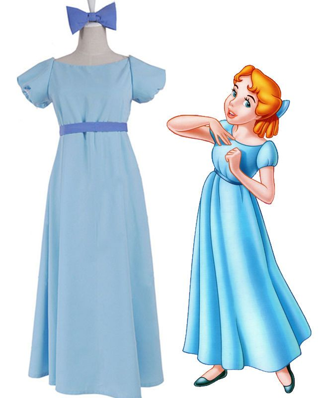 da128b045f87c Peter Pan Wendy Darling Blue Long Dress Cosplay Costume Women Girls ...