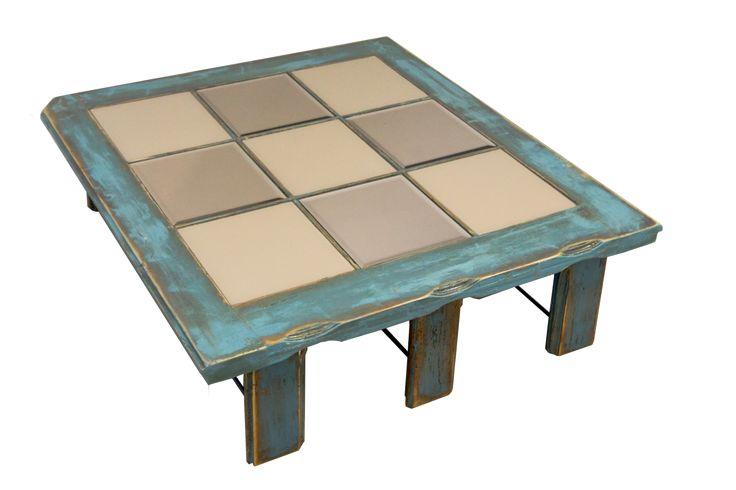 Blue Square - reclaimed wood, mirror and glass  living room table, blue, vintage style; masa de sufragerie din lemn recuperat, albastru vintage