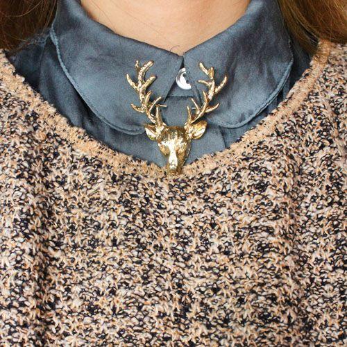 XZ014  2015 Hot Fashion jewelry Retro Long horn deer elk head peacebird Christmas deer brooch pin for men and women jewelry