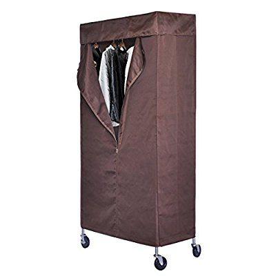 hlc armario movible perchero para colgar ropa con ruedas y barras