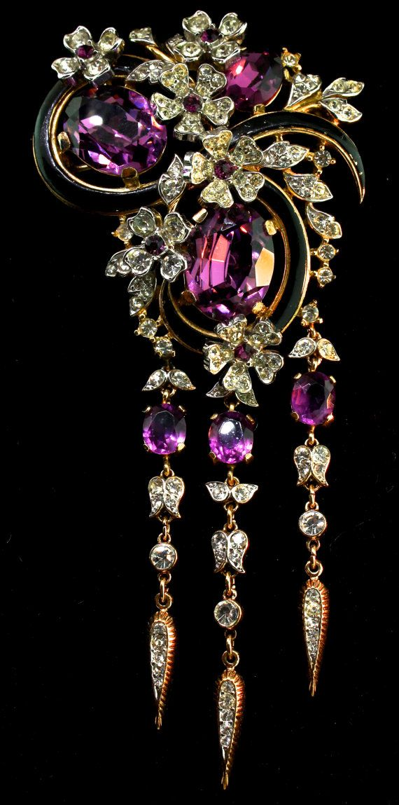 """Vintage TRIFARI Philippe Amethyst Rhinestone Flowerette & Butterflies Dangle BROOCH Pin."""