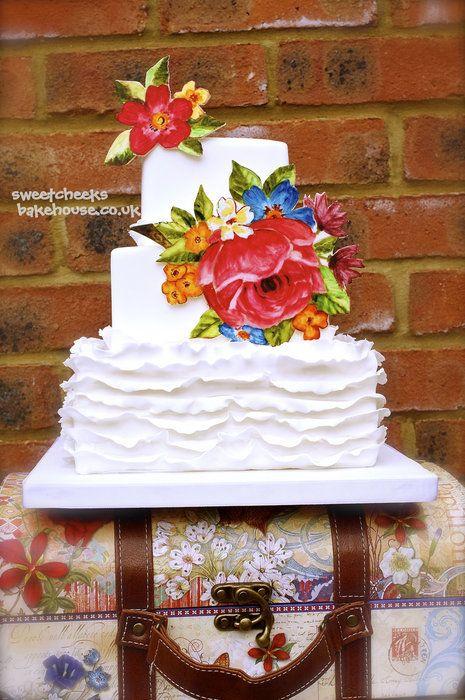 Hand Painted Ruffle Cake by Sweet Cheeks BakeshouseHands Painting, Painting Ruffles, Pretty Cake, Cake Design, Ruffle Cake, Cake Decor, Amazing Cake, Beautiful Cake, Ruffles Cake